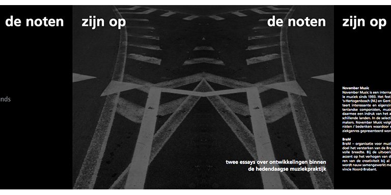 Paul Craenen en Jo Sporck: De noten zijn op – Twee essays over ontwikkelingen binnen de hedendaagse muziekpraktijk (November Music, 2008)