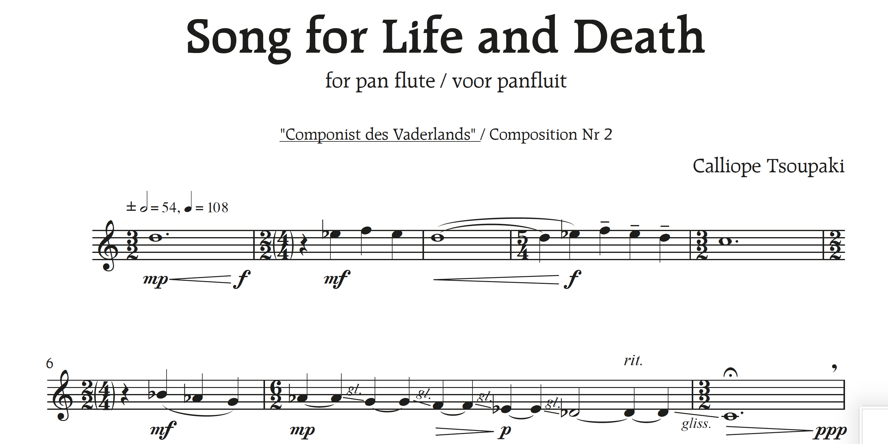 'Song for Life and Death' voor panfluit solo
